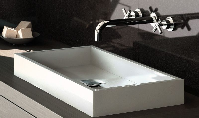 rectangle white sink