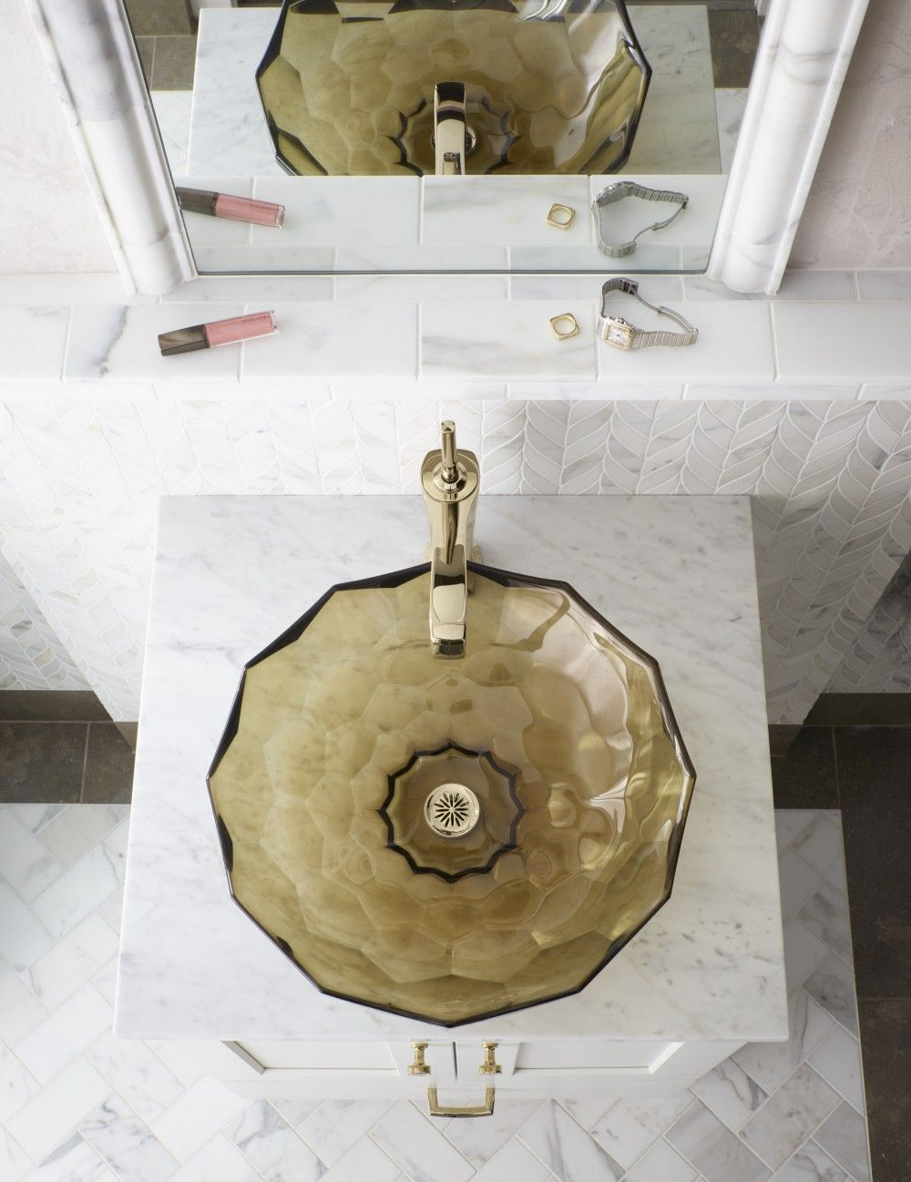 top view of a brown glass sink