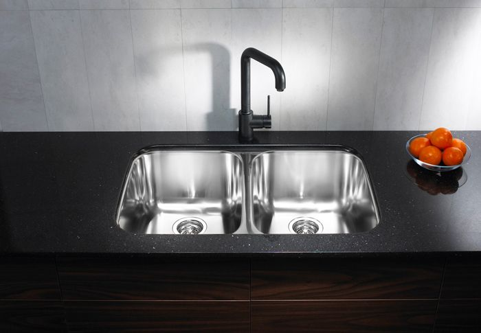 front view of installed double steel sink